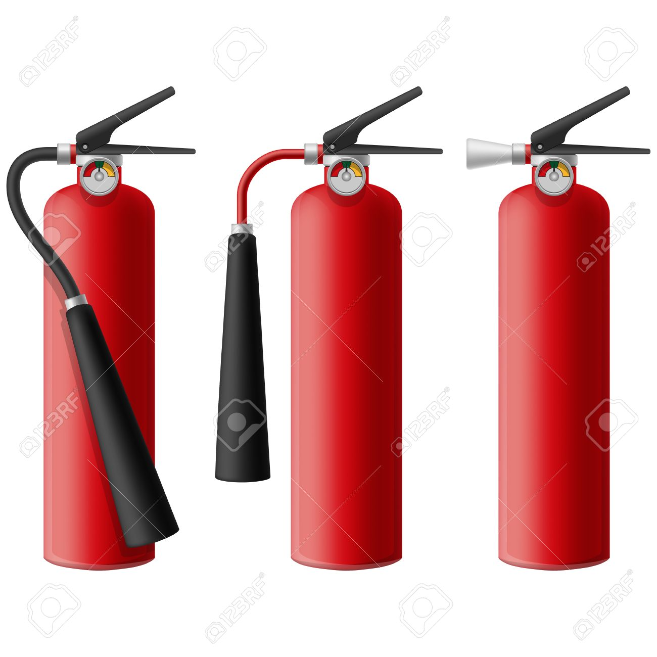 Layered Illustration Of Fire Extinguisher. Royalty Free Cliparts.