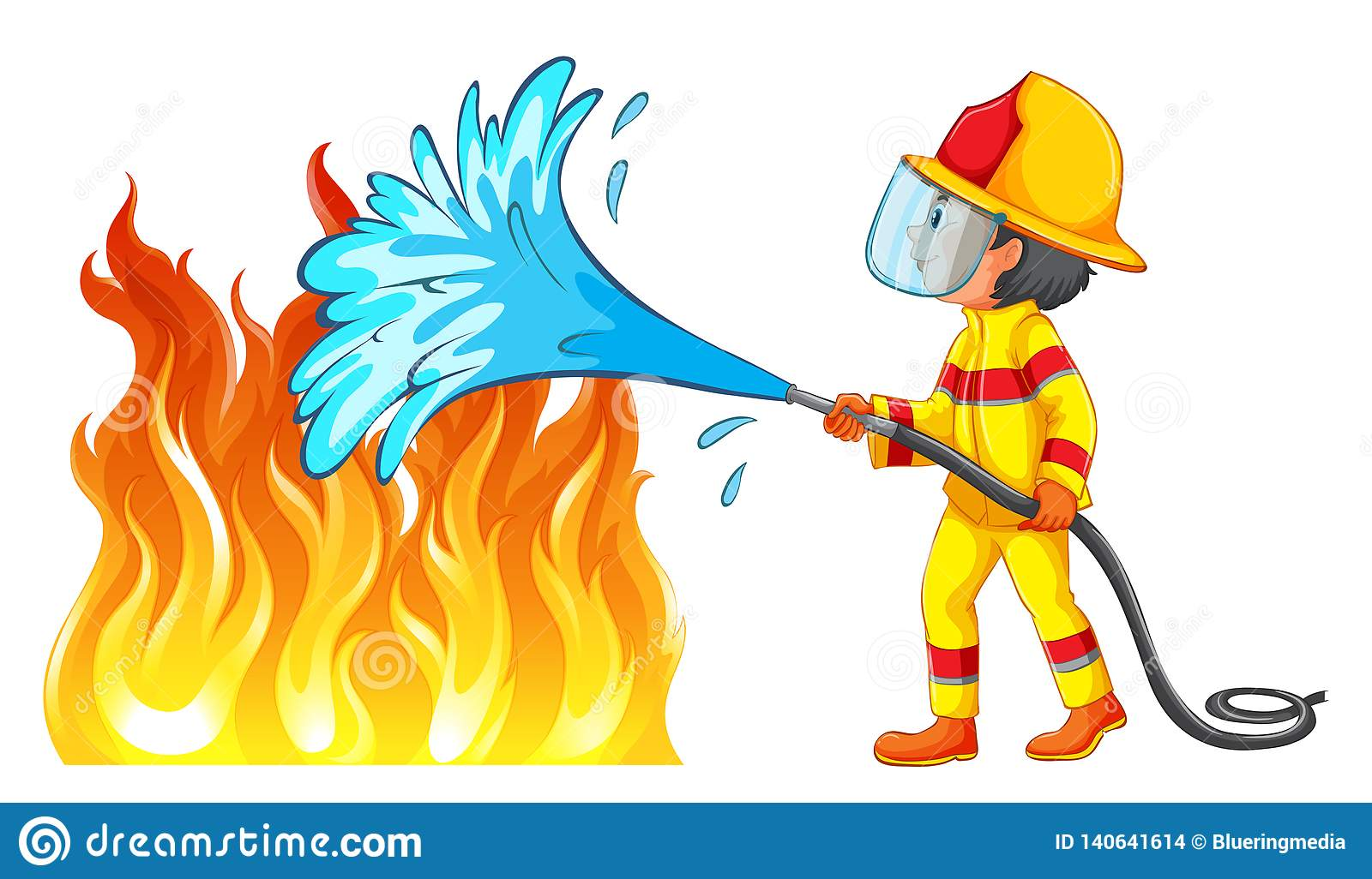 Firefighter Putting Out A Fire Stock Vector.