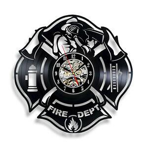 Details about Fire Department Interior Wall Clock Vinyl Decor Man Cave  Firefighter Logo Emblem.