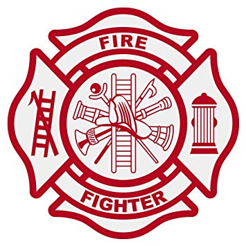 Fire Fighter Logo Ladder Fire Hydrant Red Edible Cake Topper.