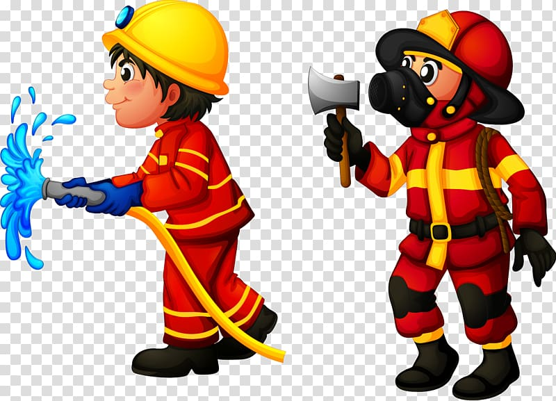 Firefighter , Firefighters are working transparent.