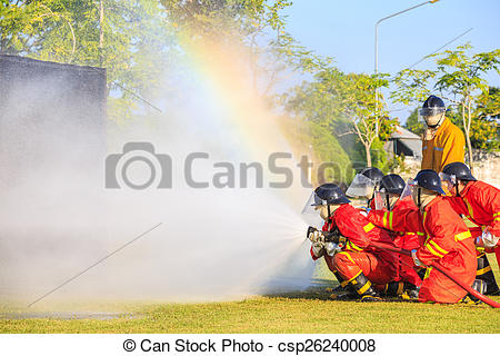 Stock Photography of Firefighter fighting for fire attack training.