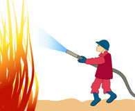 Firefighter Fighting Fire Attack Training Stock Illustrations.