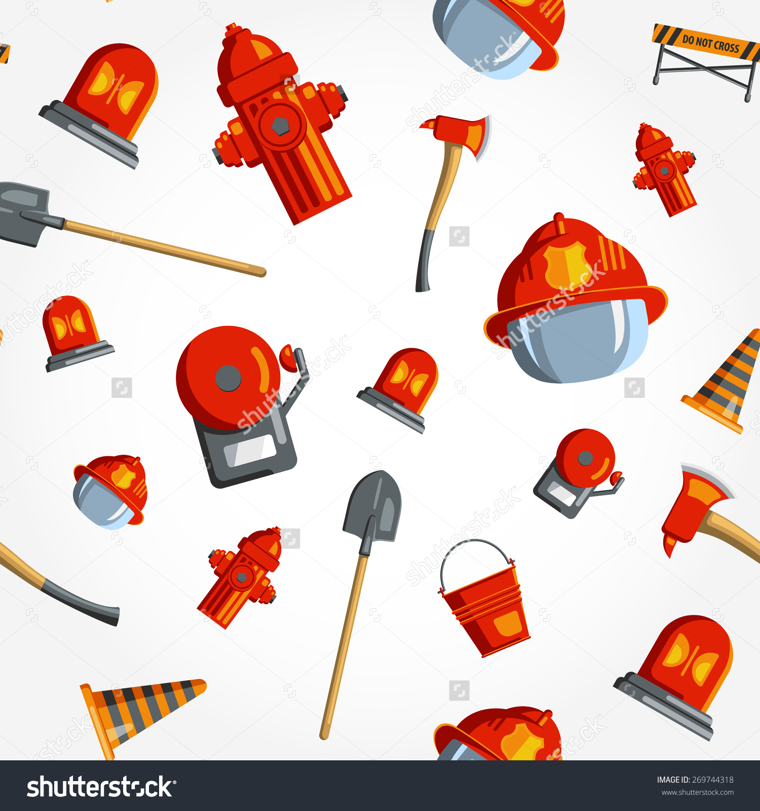 Color Vector Seamless Pattern Firefighter Equipment Stock Vector.