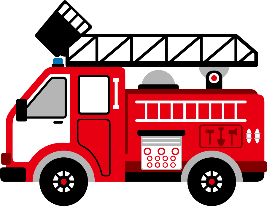 Cartoon Clip Art Firetruck Emergency Vehicle Truck Standing Photo.