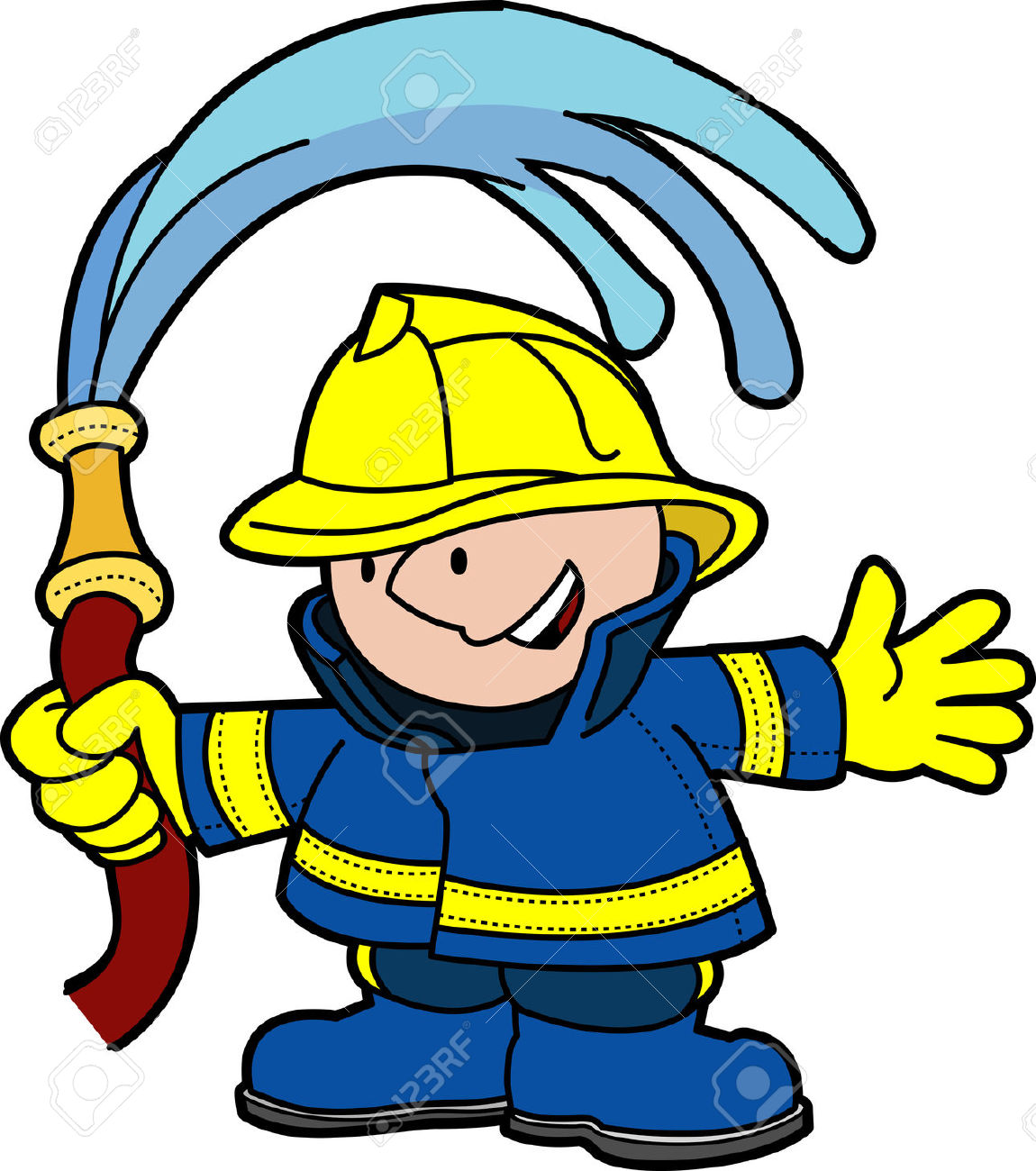 Illustration Of Fireman Holding Water Hose Royalty Free Cliparts.