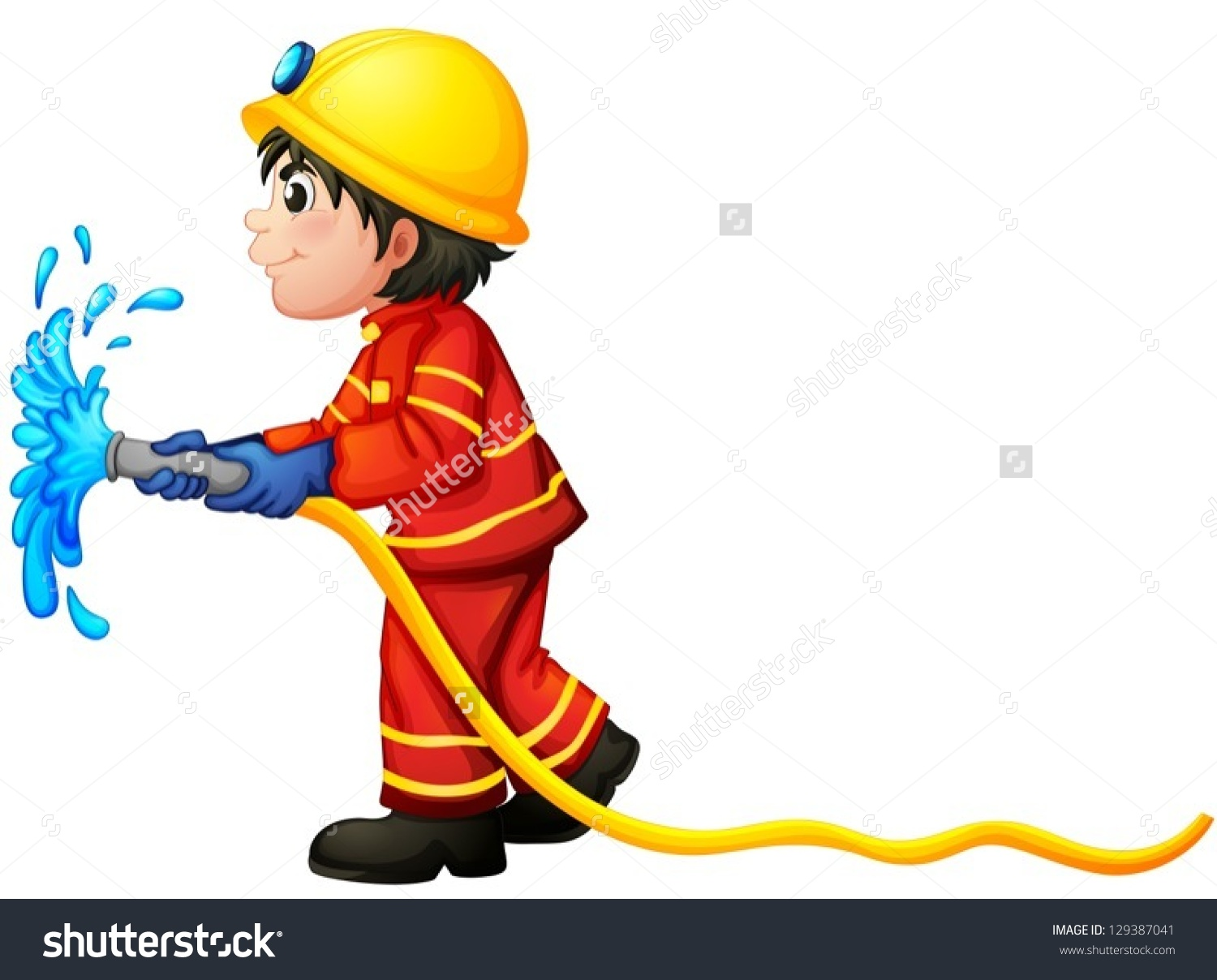 Clipart Of Fire Hose Squirting Water.