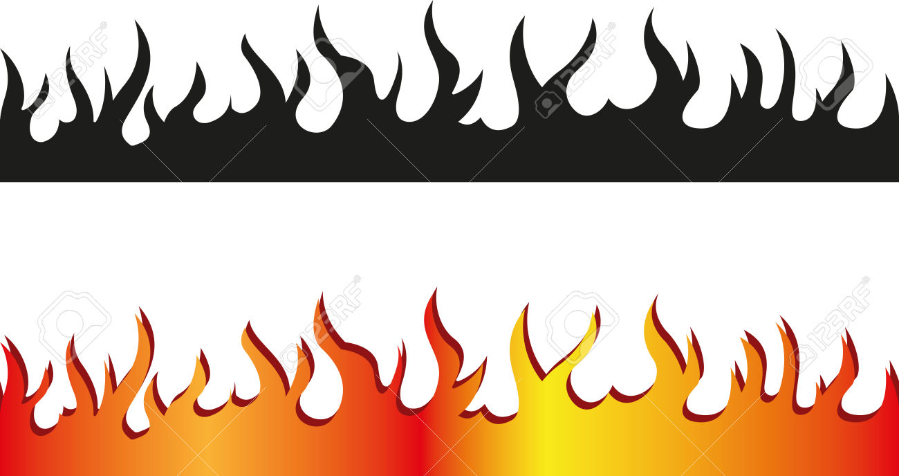 Set Of Seamless Flame Border Royalty Free Cliparts, Vectors, And.