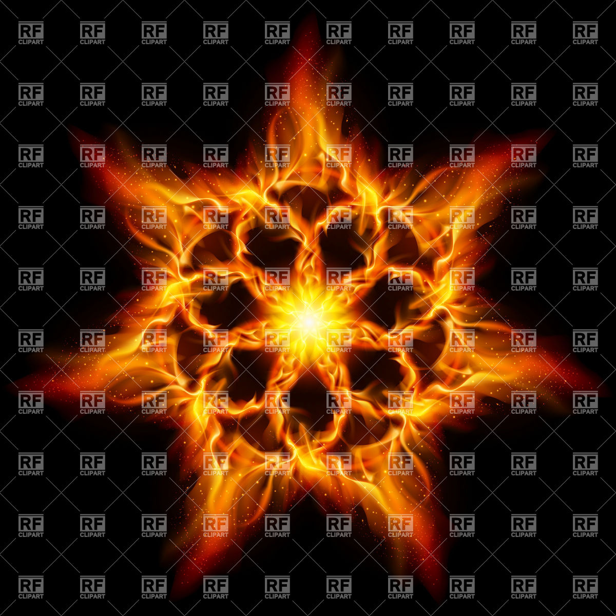 Fire flower or star Vector Image #7913.