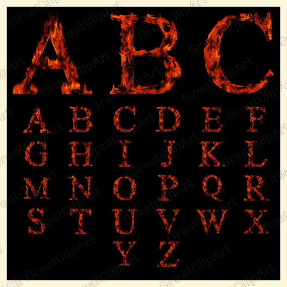 26 Fire Alphabet, Fire Letters, orange letters, Fire Digital.