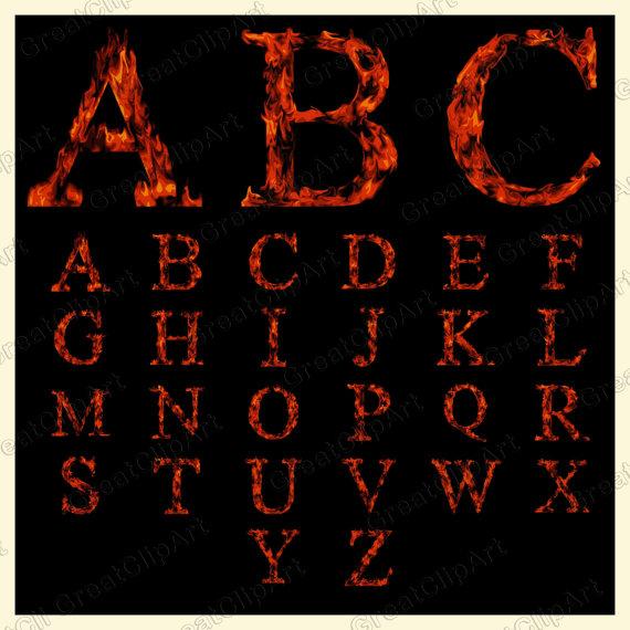 26 Fire Alphabet, Fire Letters, orange letters, Fire Digital Fonts.