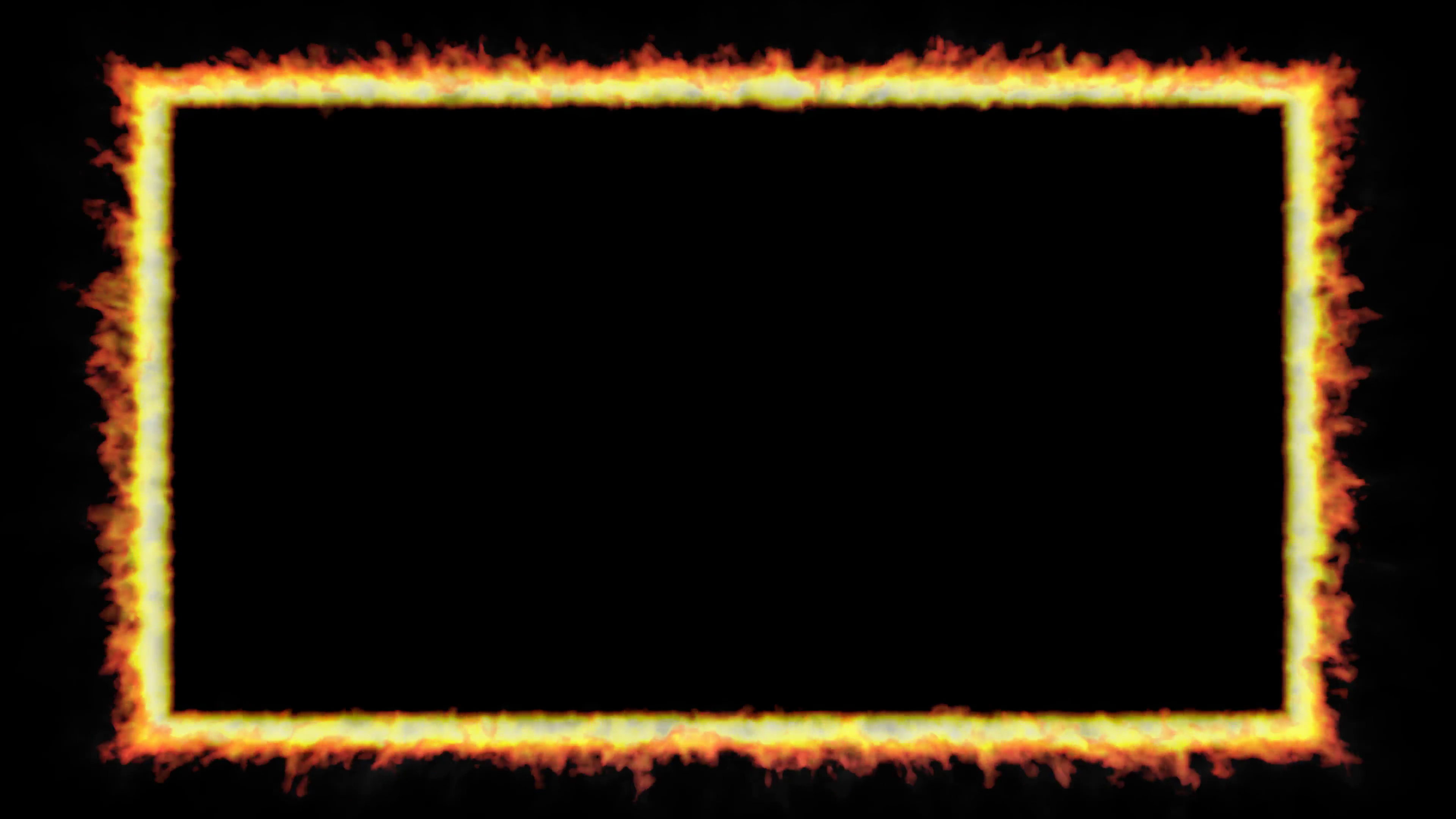 Animated thin rectangular rim, trim, window, border or frame of fire  against transparent background in 4k. Alpha channel embedded with 4k PNG  file..