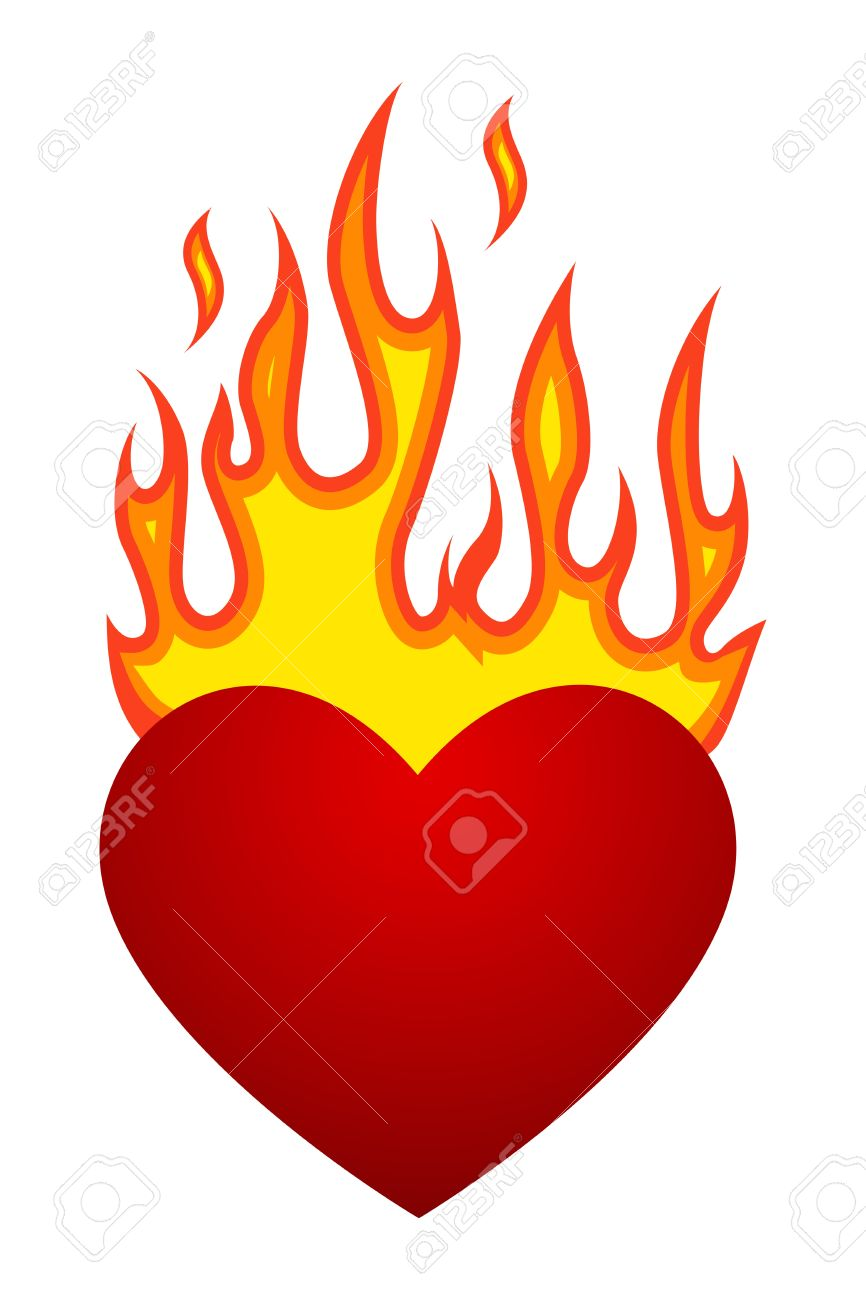 Vector illustration with flaming heart at fire.