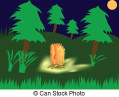 Campfire wood tree summer fire herb night moon Clip Art and Stock.