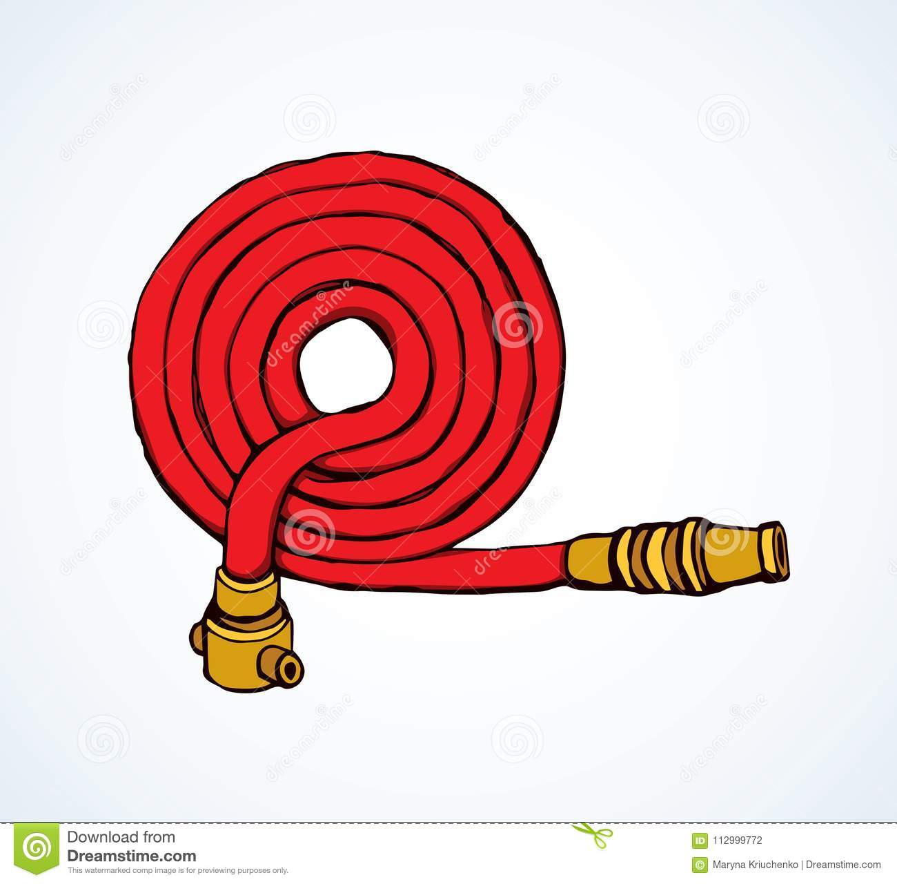 Fire hose. Vector drawing stock vector. Illustration of pressure.
