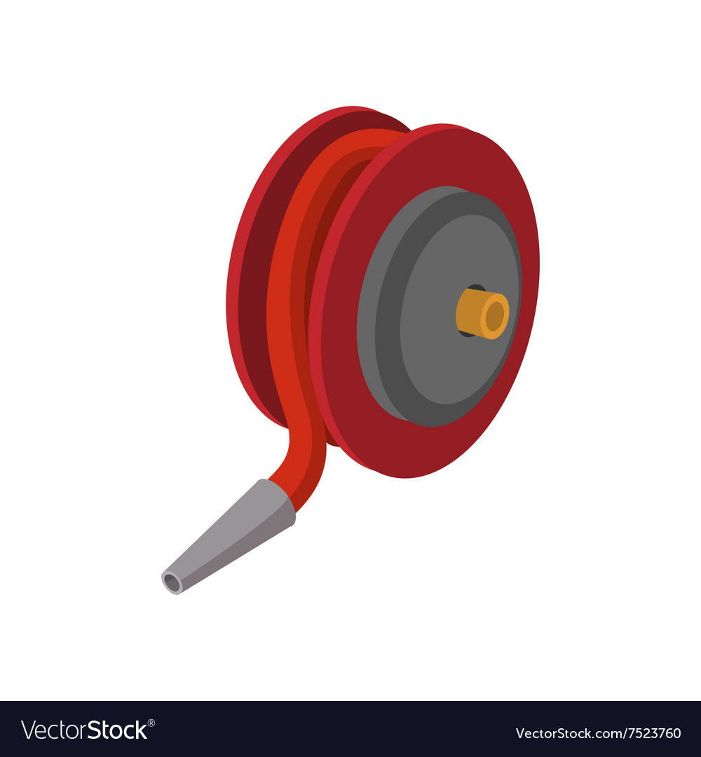 Red fire hose winder roll reels cartoon icon.