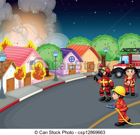 Clip Art Vector of A fire at the village.
