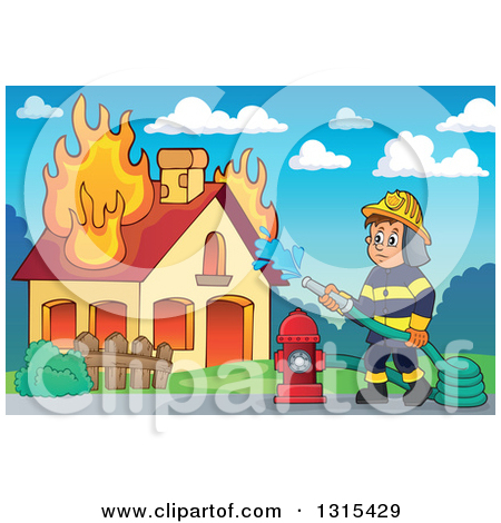 Clipart of a Cartoon White Male Fireman Using a Hose Connected to.