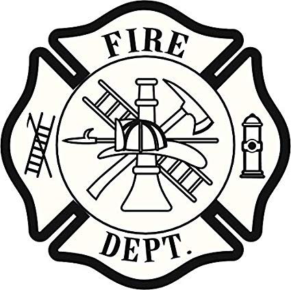 Cool Fire Station Firefighter Badge Cartoon Vinyl Sticker (2\