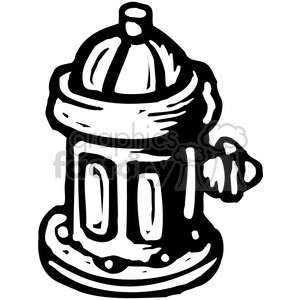 black and white fire hydrant clipart. Royalty.