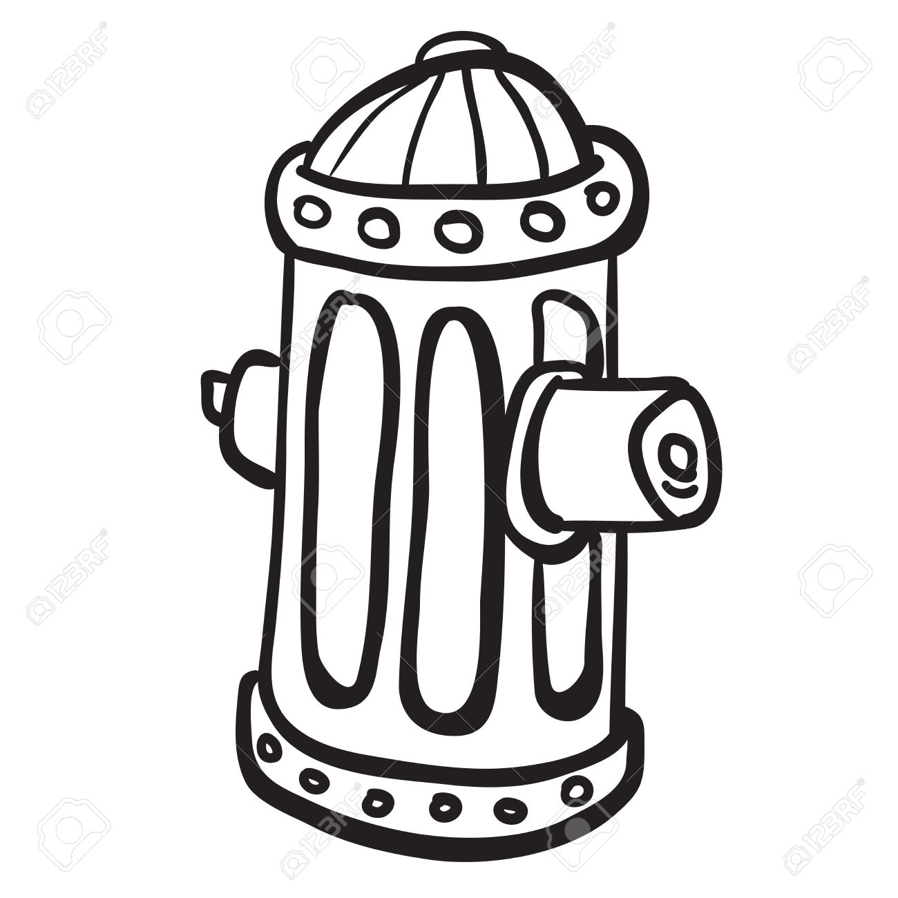 simple black and white fire hydrant cartoon.