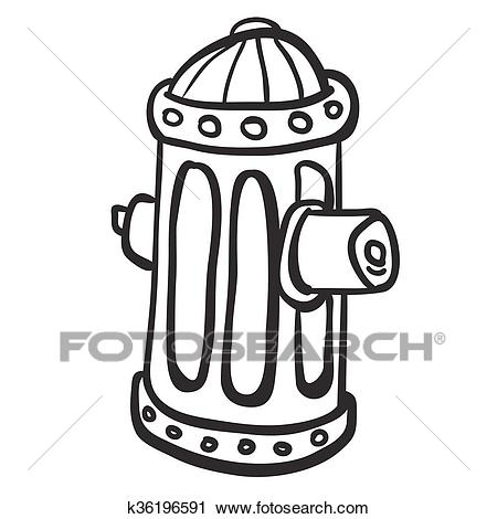 Simple black and white fire hydrant Clipart.