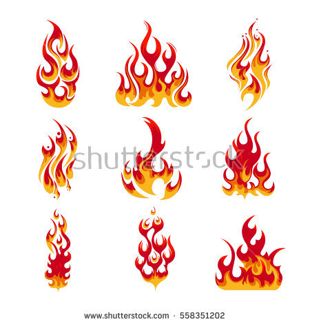 Vector Collection of Different Fire Symbols.