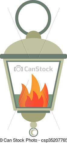Clip Art Vector of Street fire lamp isolated on white background.
