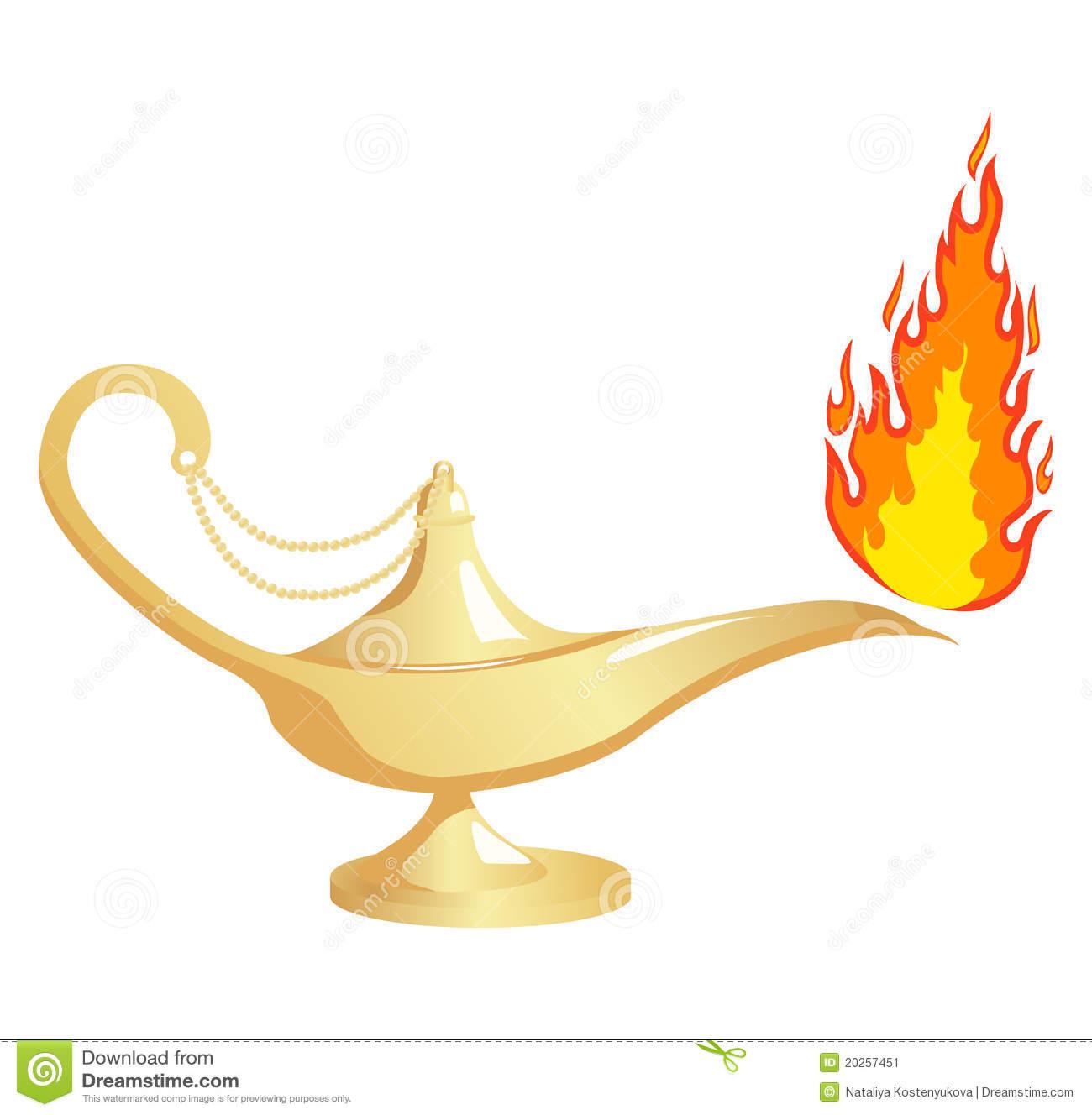 Aladdin 60s Lamp Fire Stock Illustrations.