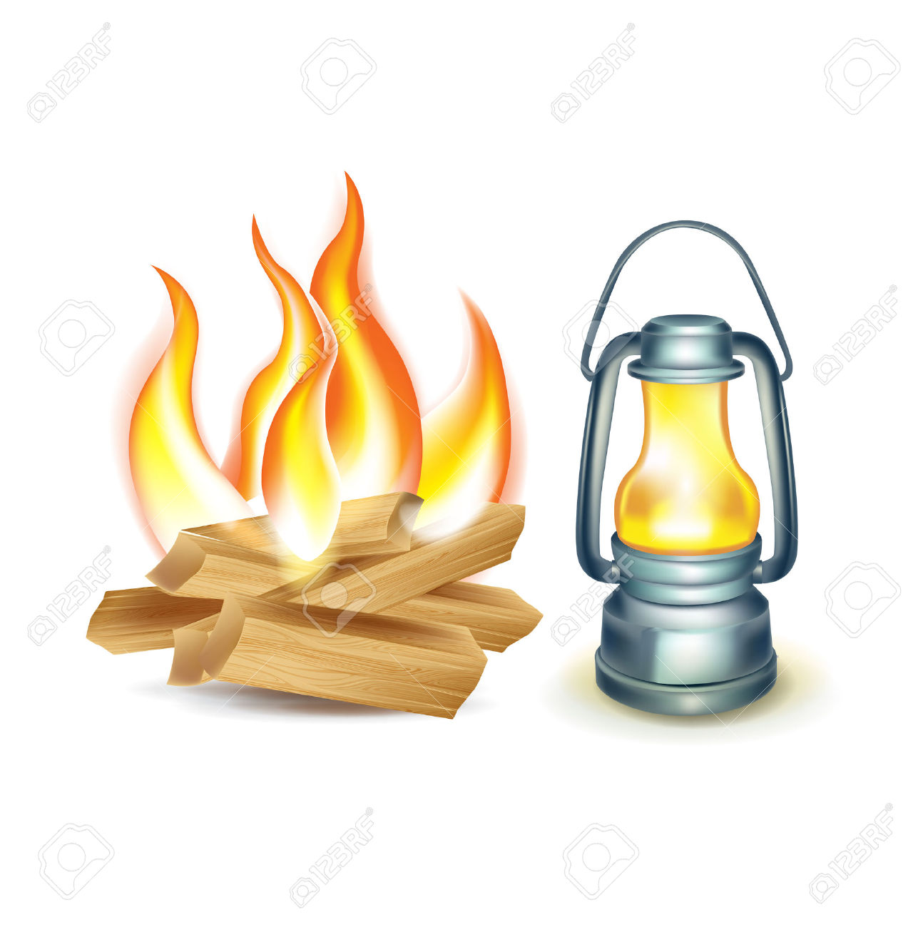Wood Camp Fire And Oil Lamp Isolated On White Royalty Free.