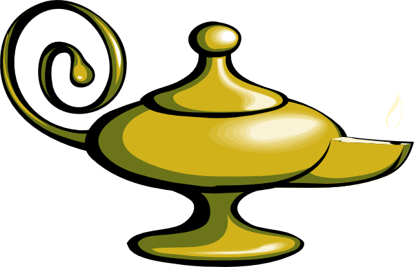 Genie Lamp With Fire Clipart.