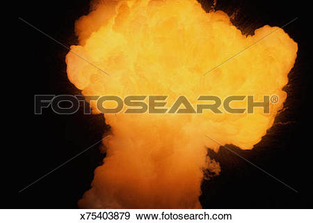 Stock Photograph of Fire explosion in shape of large mushroom.