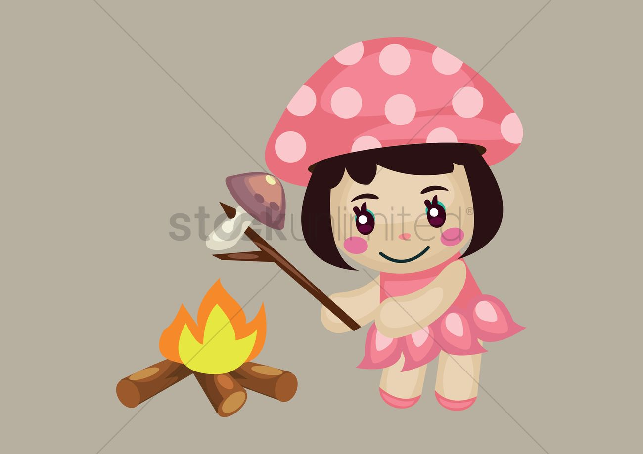 Free Girl in a mushroom costume roasting mushroom over the fire.