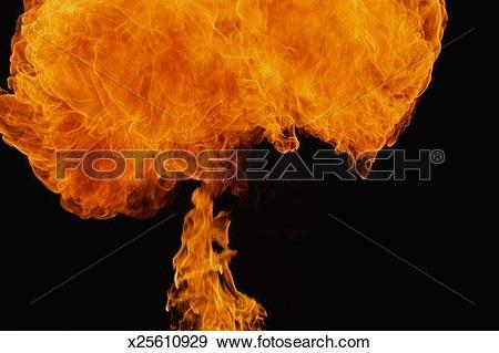 Stock Photograph of Fire explosion in shape of mushroom x25610929.
