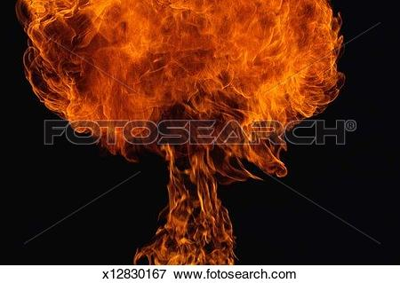 Picture of Fire explosion in shape of mushroom x12830167.