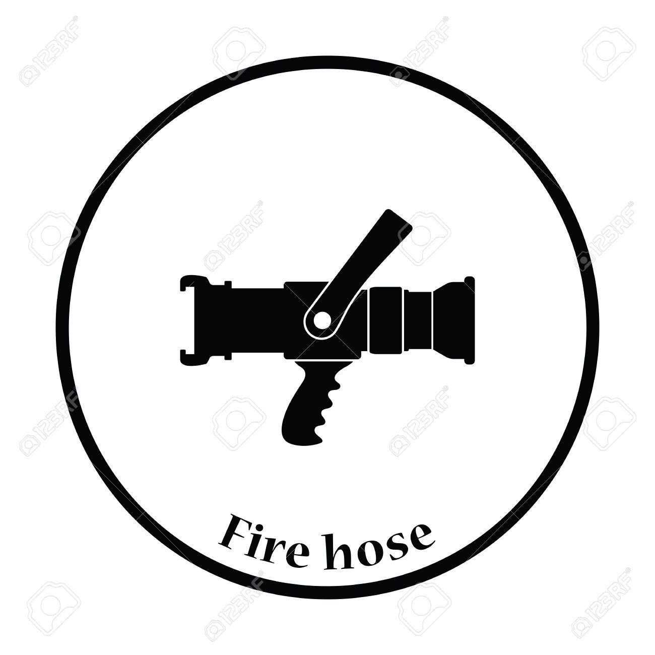 Fire hose icon. Thin circle design. Vector illustration..