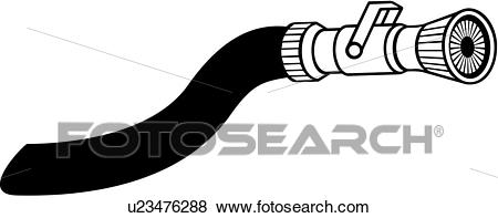 , department, emergency, emergency services, fire, fire department, fire  dept, hose, nozzle, service, tool, Clip Art.