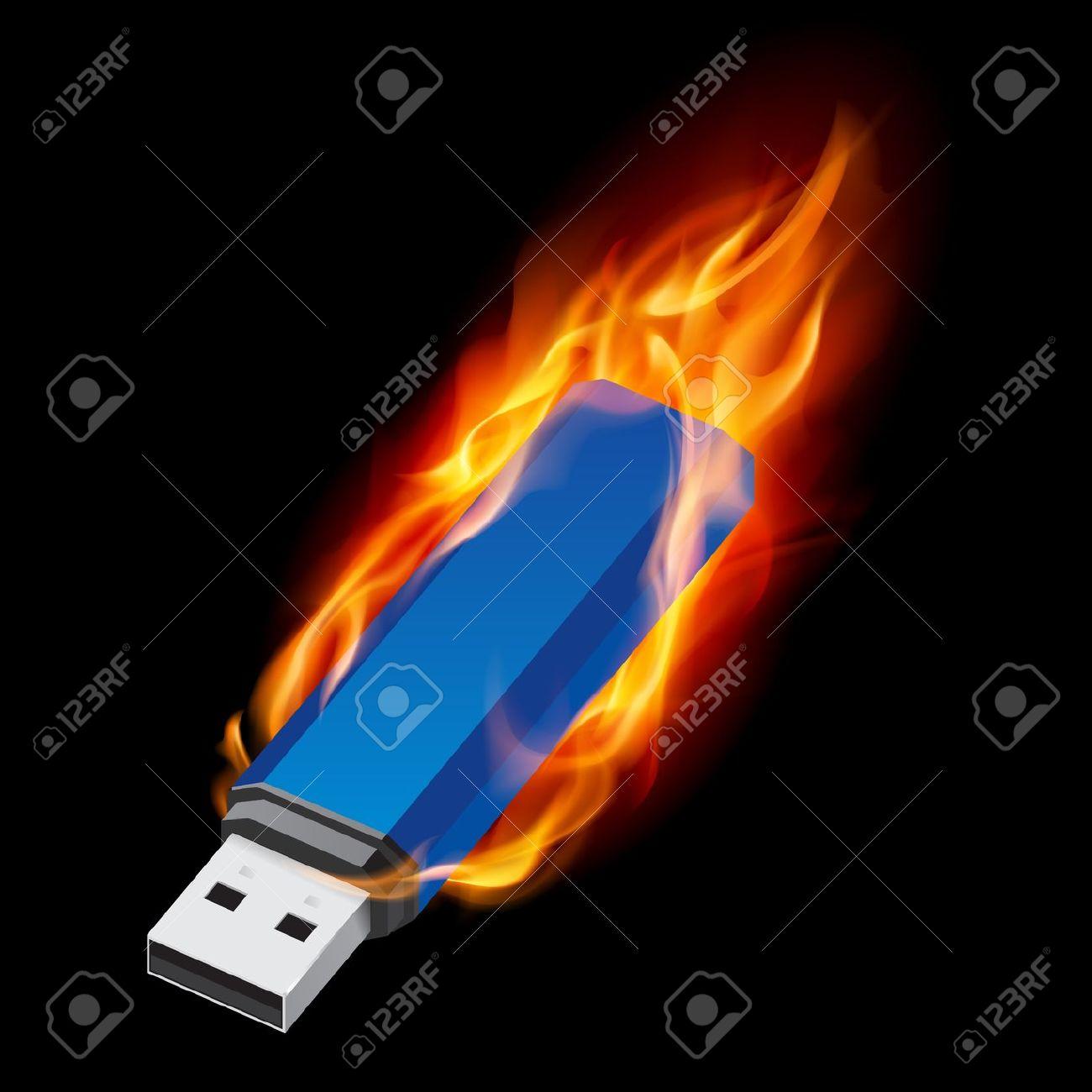 Blue USB Flash Drive In Fire. Illustration On Black Background.