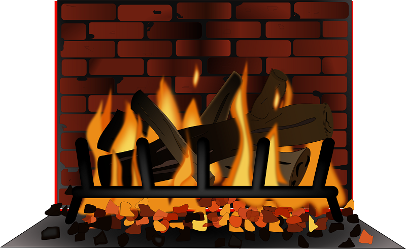 Fireplace And Logs Clipart.