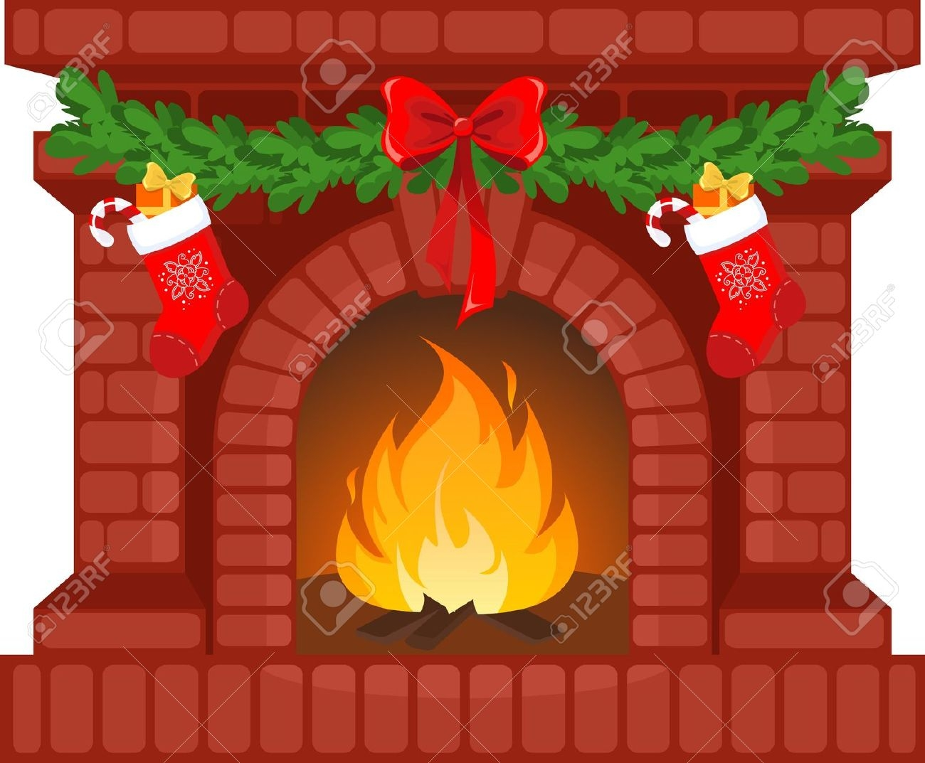 Christmas stockings fireplace clipart.