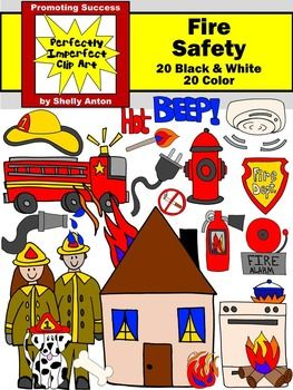 Fire Safety Clip Art Firetruck, Hydrant, Dalmatian, Extinguisher.