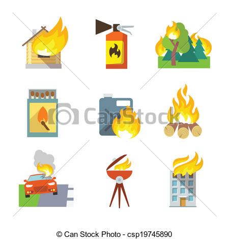 EPS Vectors of Fire Protection Icons.