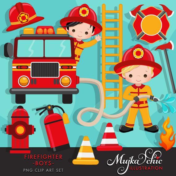 Firefighter Boys Clipart. Cute fireman, fire truck, hose, fire.
