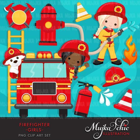 Firefighter Girls Clipart. Cute fireman, fire truck, hose, fire.