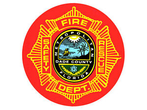 Details about 4x4 inch Round METRO DADE FIRE RESCUE Sticker.