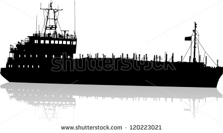 Barge Silhouette Clipart.