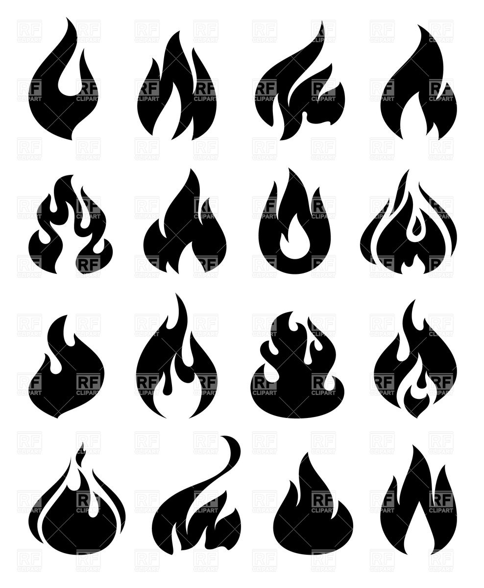 Fire and flame silhouettes.