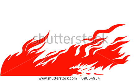Vector Silhouette Red Fire On White Stock Vector 69654934.