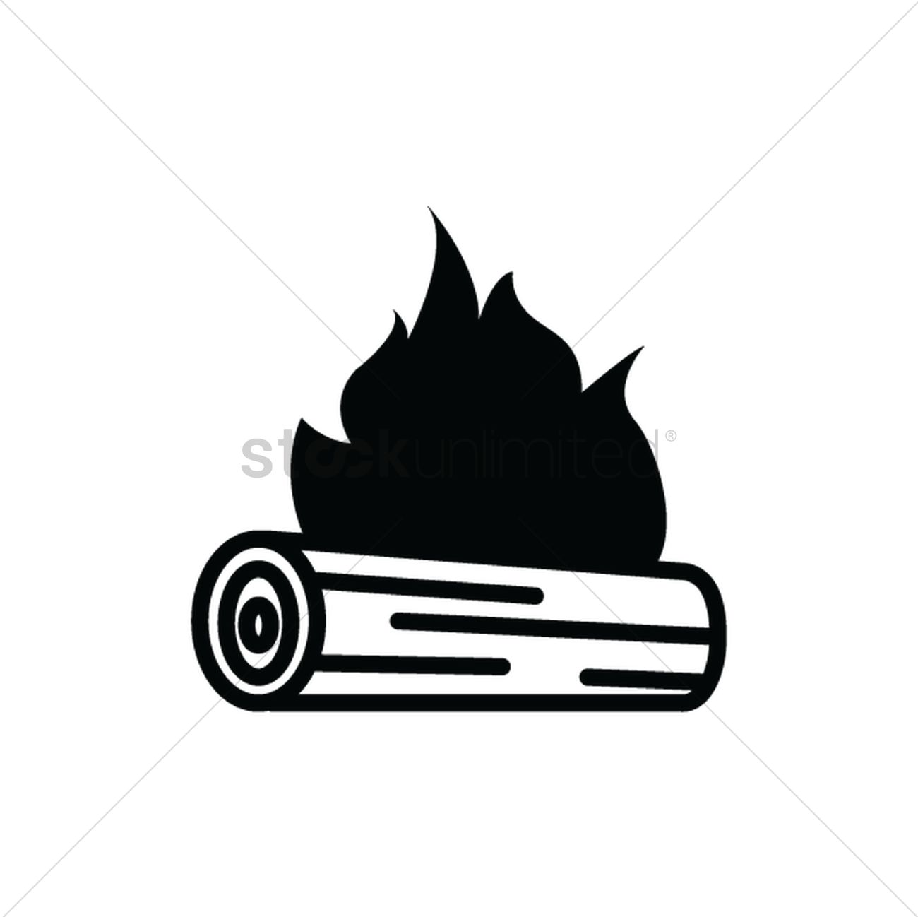 Log on fire silhouette Vector Image.