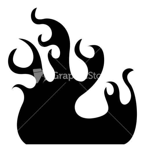 Fire Flame Vector Silhouette Stock Image.